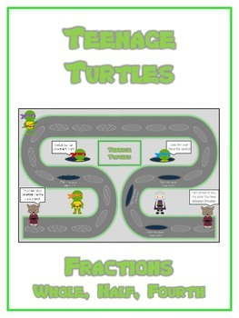 Teenage Turtles Math Folder Game - Common Core - Fractions