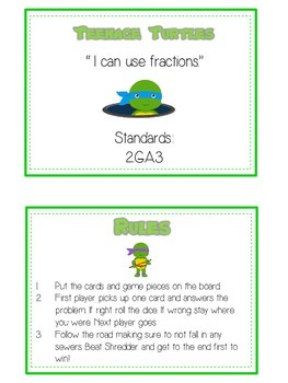 Teenage Turtles Math Folder Game - Common Core - Fractions