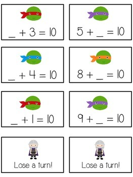 Teenage Turtles Math Folder Game - Common Core - Making Ten