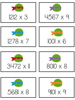 Teenage Turtles Math Folder Game - Common Core - Multiplication 1 2 3 4 Digits