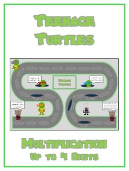 Teenage Turtles Math Folder Game - Common Core - Multiplication 1 2 3 4 Digits