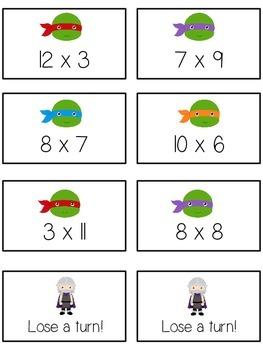 Teenage Turtles Math Folder Game - Common Core - Multiplication