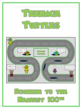 Teenage Turtles Math Folder Game - Common Core - Rounding to Nearest 100th