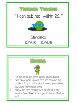 Teenage Turtles Math Folder Game - Common Core - Subtracting 10 to 20