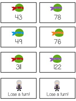 Teenage Turtles Math Folder Game - Common Core - Subtracting within 10