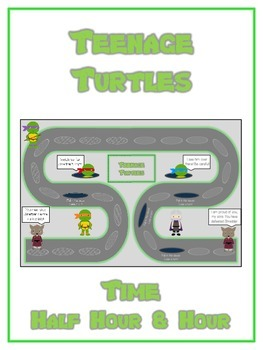 Teenage Turtles Math Folder Game - Common Core - Telling Time Half Hour Hour