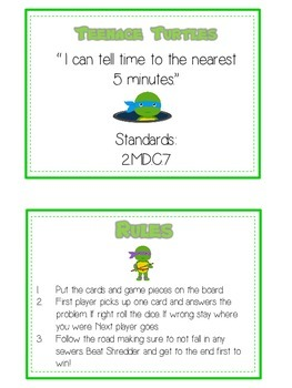 Teenage Turtles Math Folder Game - Common Core - Telling Time within 5 Minutes