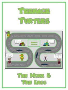 Teenage Turtles Math Folder Game - Common Core - Ten More and Ten Less