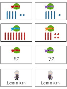 Teenage Turtles Math Folder Game - Common Core - Tens and Ones - Place Value