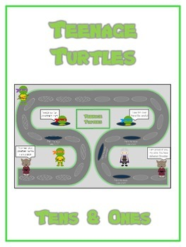 Teenage Turtles Math Folder Game - Common Core - Tens and