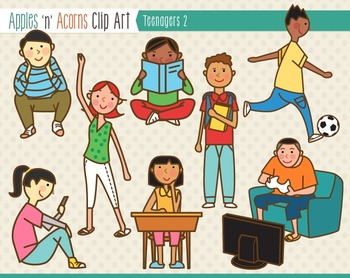 Teenagers 2 Clip Art - color and outlines