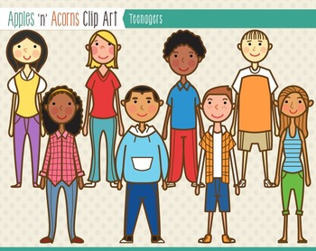 Teenagers Clip Art - color and outlines
