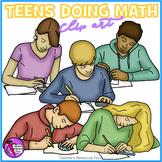 Teens Doing Math clip art