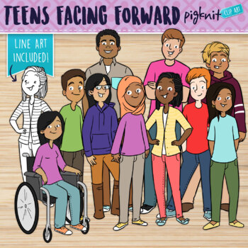 Teenagers Facing Forward Clipart for Secondary Education