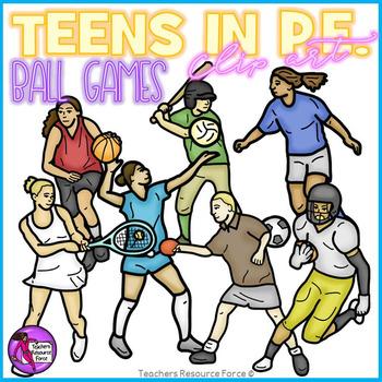 Teens in P.E. class playing ball games - sports clip art