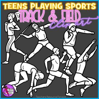 Teen athletes clip art