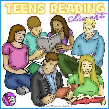 Teens Reading clip art