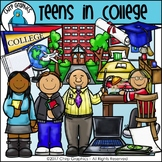 Teenagers in College Clip Art - Chirp Graphics