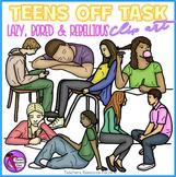 Lazy, off-task, rebellious Teens clip art