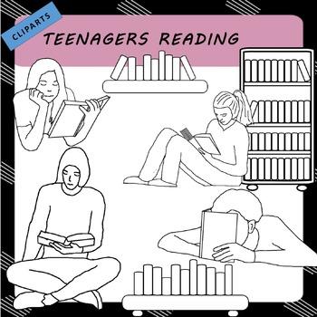 Clip Art - Tween, Teenagers Reading and Bookshelves
