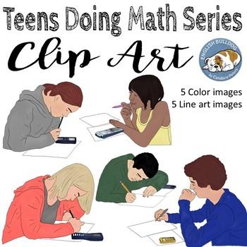 Teens Doing Math Clip Art Set