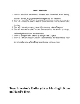 Teens' Inventions. Compare and Contrast Summary.