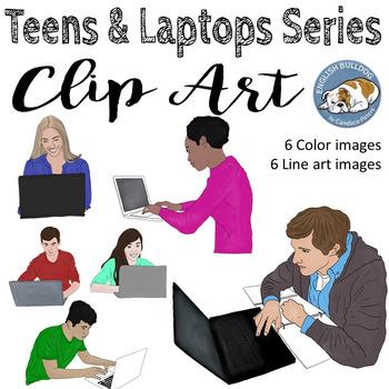 Teens & Laptops Clip Art Set