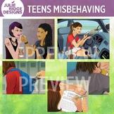 Teens Misbehaving Clip Art Illustrations
