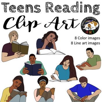 Teens Reading Clip Art Set