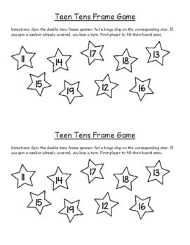 Teens Tens Frame Game