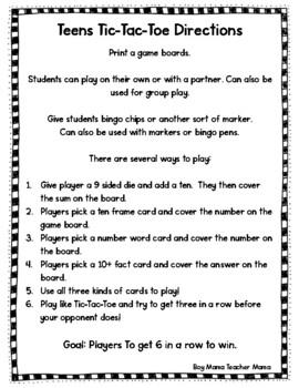 Teens Tic-Tac-Toe (Numbers 11-19)
