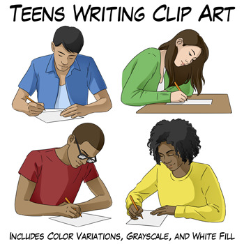 Teens Writing Clip Art