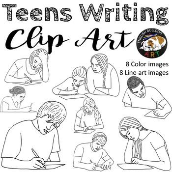 Teens Writing Clip Art Set