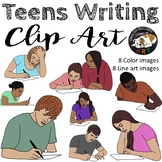 Teens Writing Clip Art Set