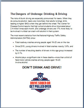 """Teens and Alcohol- """"Re-think before you Drink!"""""""
