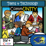 Teens and Technology Clip-Art (14 pc.: 7 BW and 7 Color)!