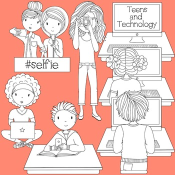 Teens and Technology - Secondary Teen Clipart