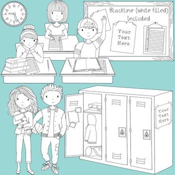 Teens at School Volume 3 - Secondary Teen Clipart