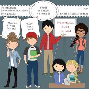 Teens at School Volume 2 - Secondary Teen Clipart