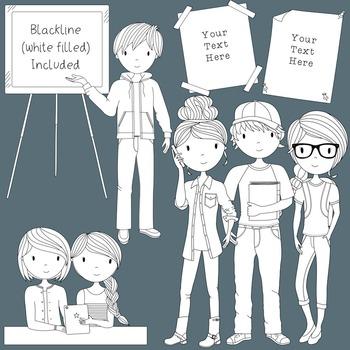 Teens at School Volume 2 - Secondary Teen Clipart
