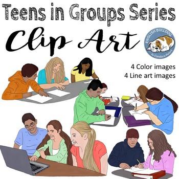Teens in Groups Clip Art Set 2