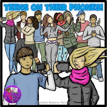 Teens on their phones Clip Art - ♛ Premier Illustrations ♛