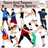 Teens and Tweens Playing Sports Clip Art Set