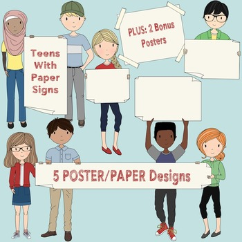 Teens with Signs - Secondary Teen Clipart