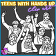 Teens with their hands up clip art