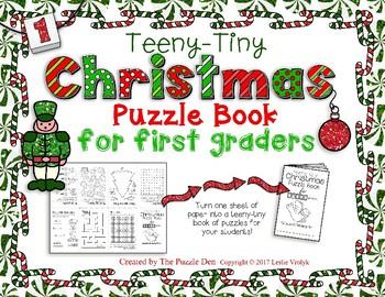 Teeny-Tiny Christmas Puzzle Book for First Graders
