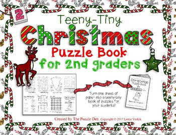 Teeny-Tiny Christmas Puzzle Book for Second Graders