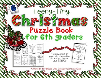 Teeny-Tiny Christmas Puzzle Book for Sixth Graders