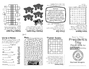 Teeny-Tiny President's Day Puzzle Book for Upper Elementary