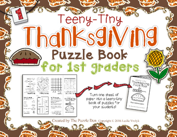 Teeny-Tiny Thanksgiving Puzzle Book for First Grade